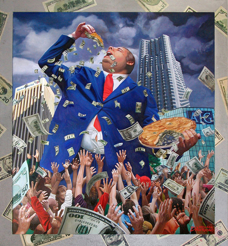 Painting of a giant banker eating a money pie. Dollar bills spill from the pie as the masses reach to grab the money crumbs.