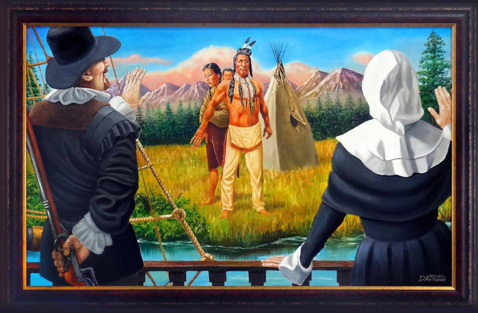 A painting of pilgrims landing as an native american couple watch with apprehension.