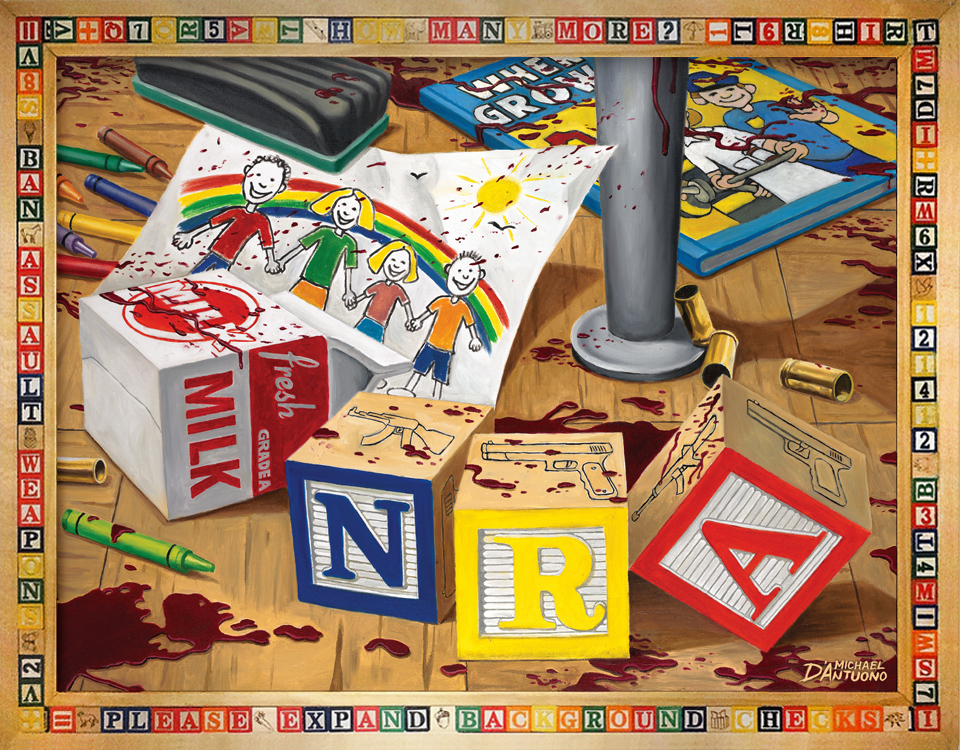 Gun control painting depicting blood splattered floor of classroom with children's blocks reading NRA