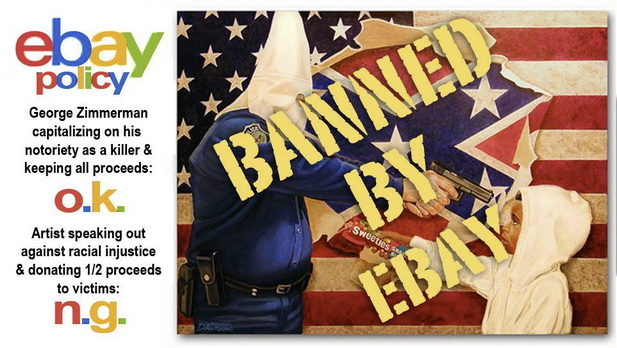 "eBay OKs 100K Sale of Zimmerman Painting, While Removing ""A Tale of Two Hoodies"" Piece"
