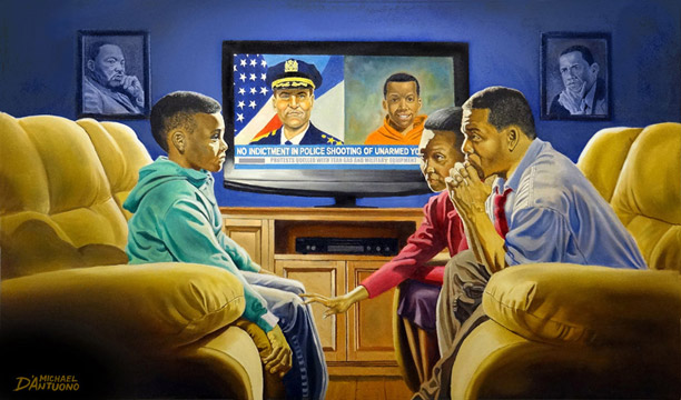"""The Talk"" painting by Michael D'Antuono,"