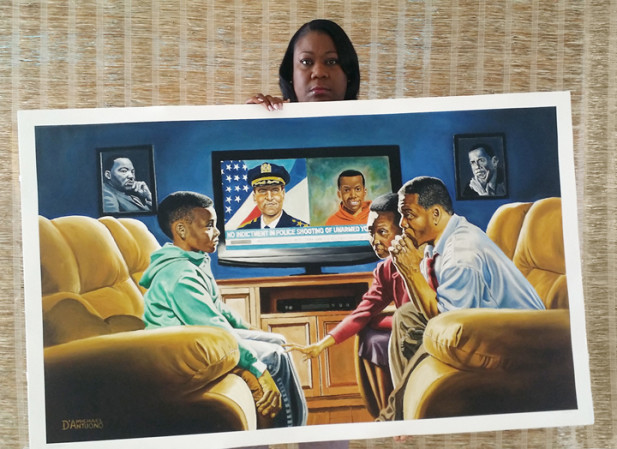 "Sybrina Fulton (Trayvon Martin's mother) with her giclee of  ""The Talk."""