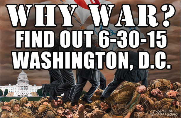"Why is America mired in a costly, perpetual state of war? Come to D.C. on June 30th for the opening of the art exhibit, ""WHY WAR?"" and see the unveiling of Michael's painting, Profit & Loss' to find out. The exhibit will take place at D.C.'s favorite gathering place for artists and activists, Busboys & Poets. The opening reception will be held on the 30th between 7-9 p.m. at 5th and K Streets NW. The exhibit runs through to July 11th. This is the painting and the exhibit that is set to launch the new anti-war movement with plans to bring together representatives from the nation's various peace organizations for a possible convention around the closing of of this exhibit hosted by American University."