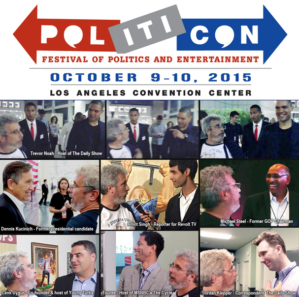 Artist Michael D'Antuono and friends at 2015 Politicon
