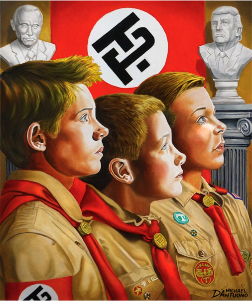 """Michael D'Antuono's painting, """"Alt Reich"""" compares Trump regime to Hitler's Nazi Germany"""