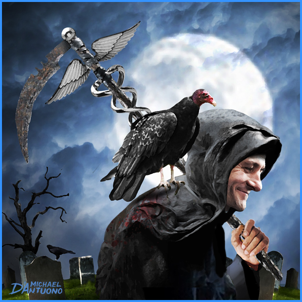 Michael D'Antuono's art on AHCA depictng Paul Ryan as the Grim Reaper