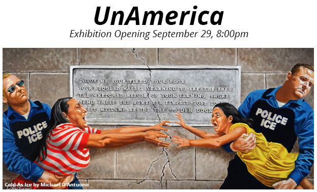 unAmerican is an art exhibit at the Puffin Cultural Center featuring the art of Michael D'Antuono and others