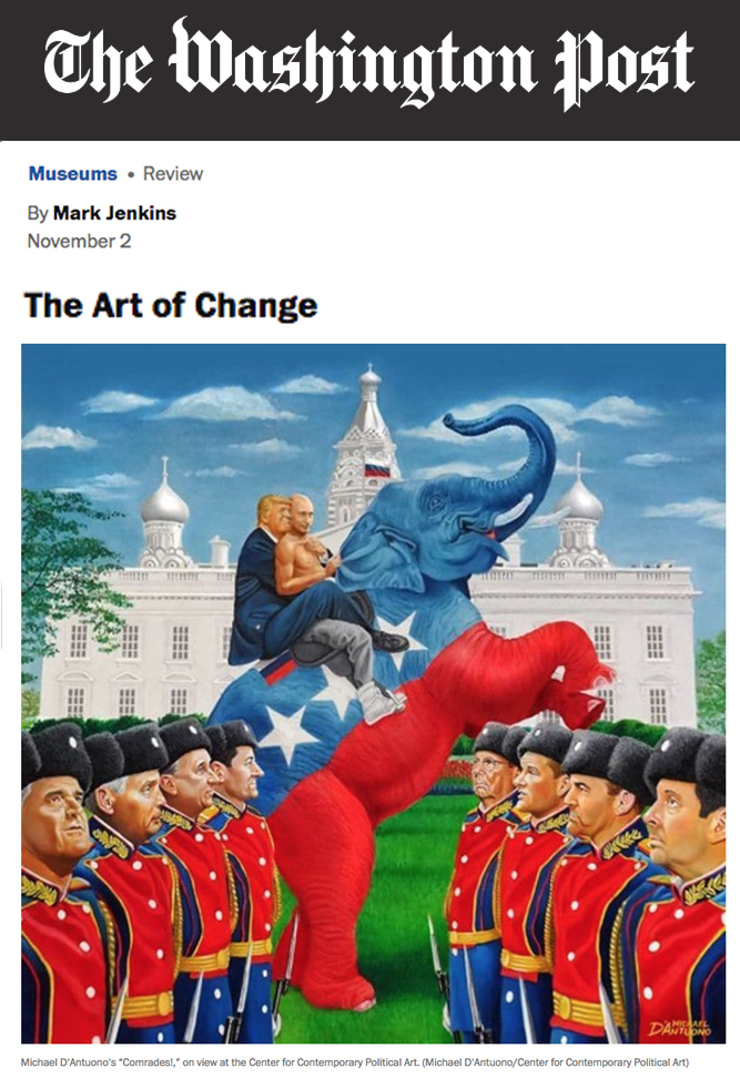 Pic of Washington Post review of D.C. art exhibit Defining Change in the Age of Trump.